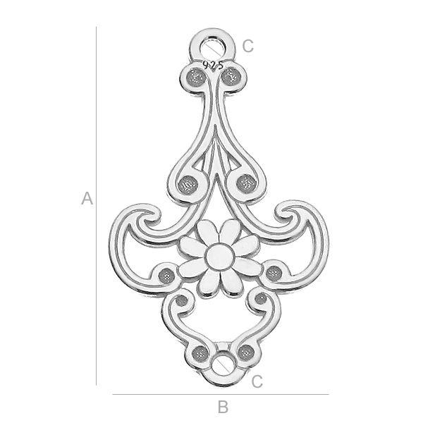 Chandelier ,argint 925 21*12.4 mm
