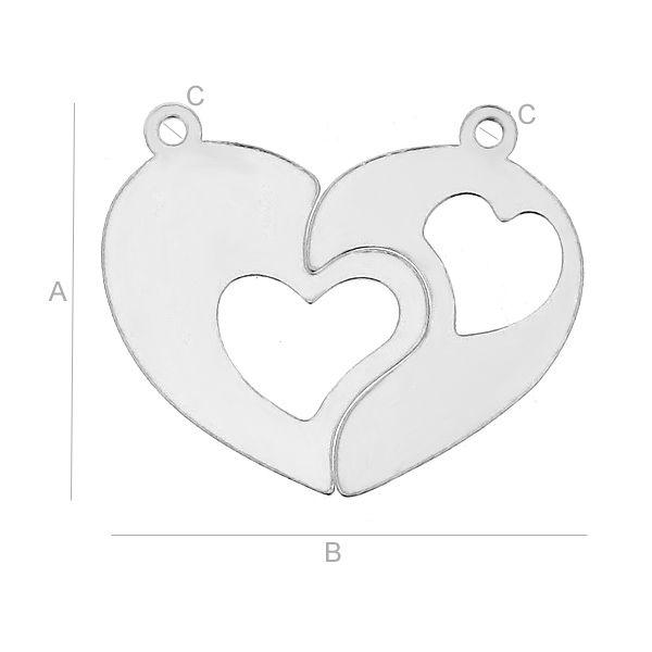 pandant dublu inima, argint 925