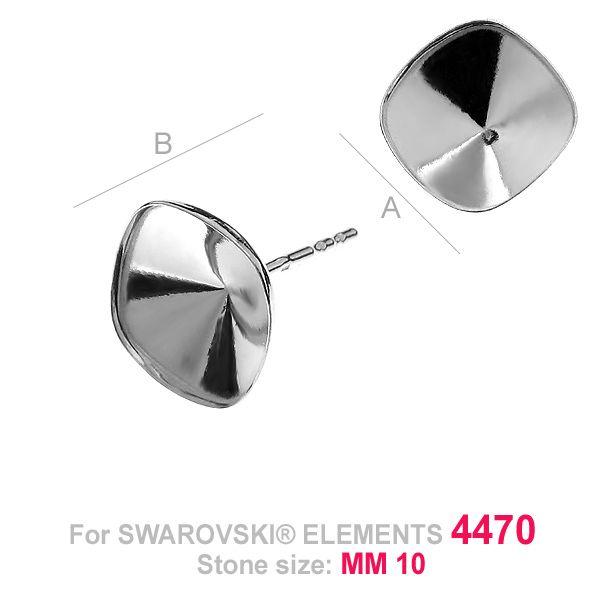 Tortita cercei ,argint 925 pentru swarovski 4470 10 mm