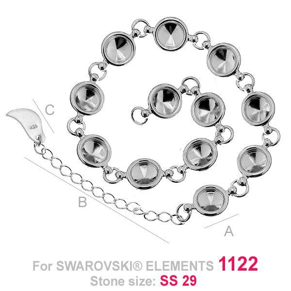 baza bratara, argint 925 pentru swarovski 1122 ss29