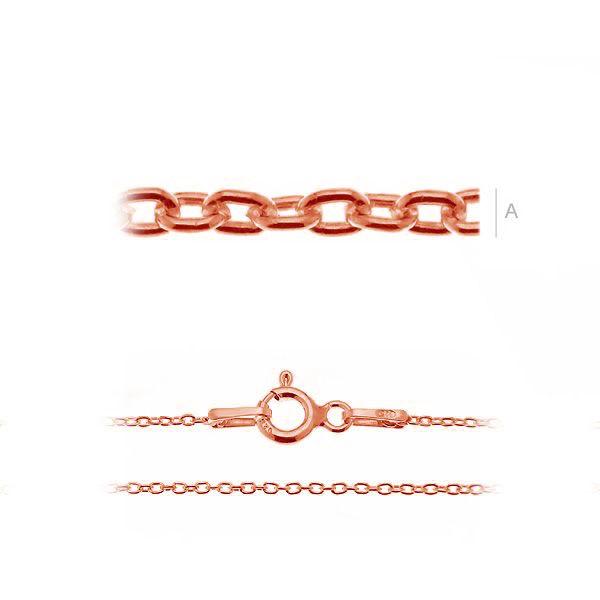 Lant ,argint 925 , placat cu au roz 18 K 45 cm