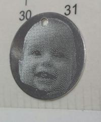 Banut argint 16 mm gravat foto argint 925