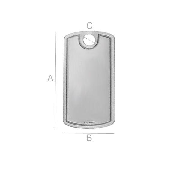 tablita army ,argint 925  28*14 mm