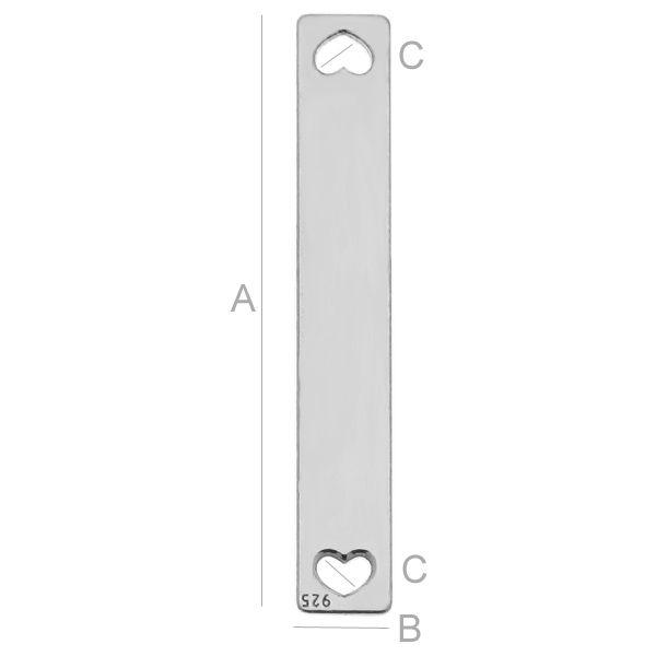 Tablita argint 925 A24,00 mm B4,00 mm C1,20 mm