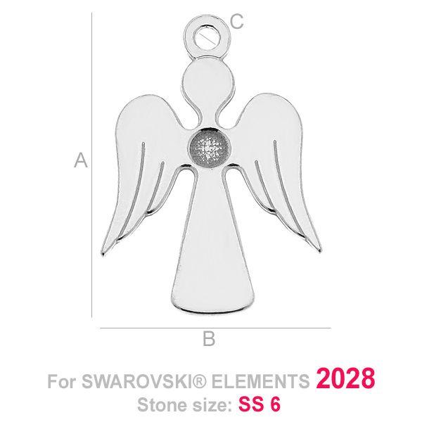 pandant argint 925 - ingeras A17,00 mm B12,00 mm C1,20 mm