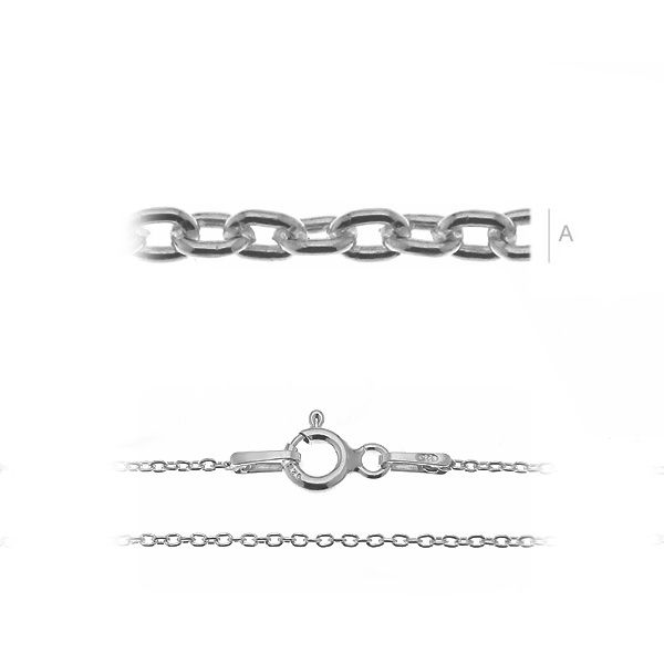 lant, argint 925 - 45 cm rodiat 1 mm grosime