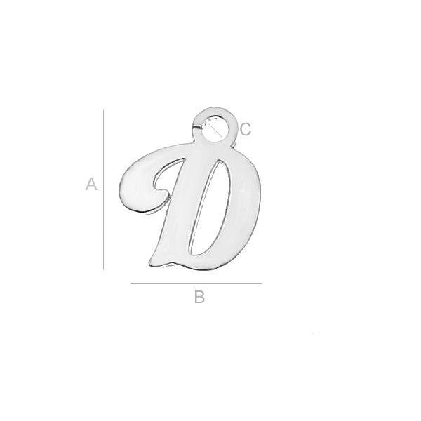 Litera D argint 925