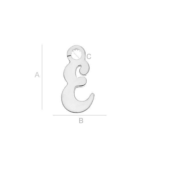 Litera E argint 925