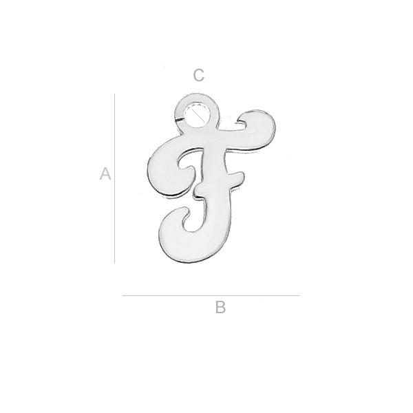 Litera F argint 925