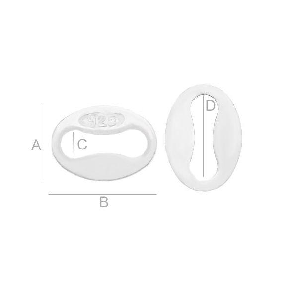accesoriu,argint 925 A3,90 mm B5,10 mm C1,20 mm D3,40 mm