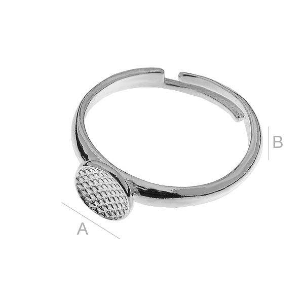 baza inel argint 925 reglabila A7,50 x 7,50 mm B2,50 mm