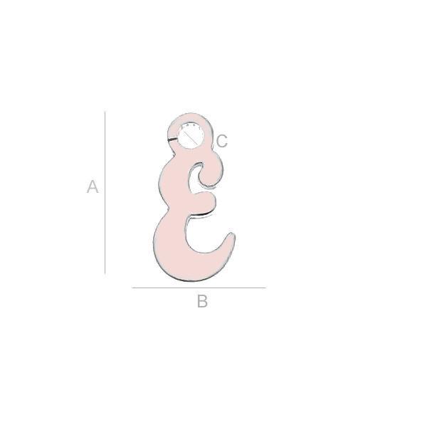 litera argint 925 placata cu aur roz E