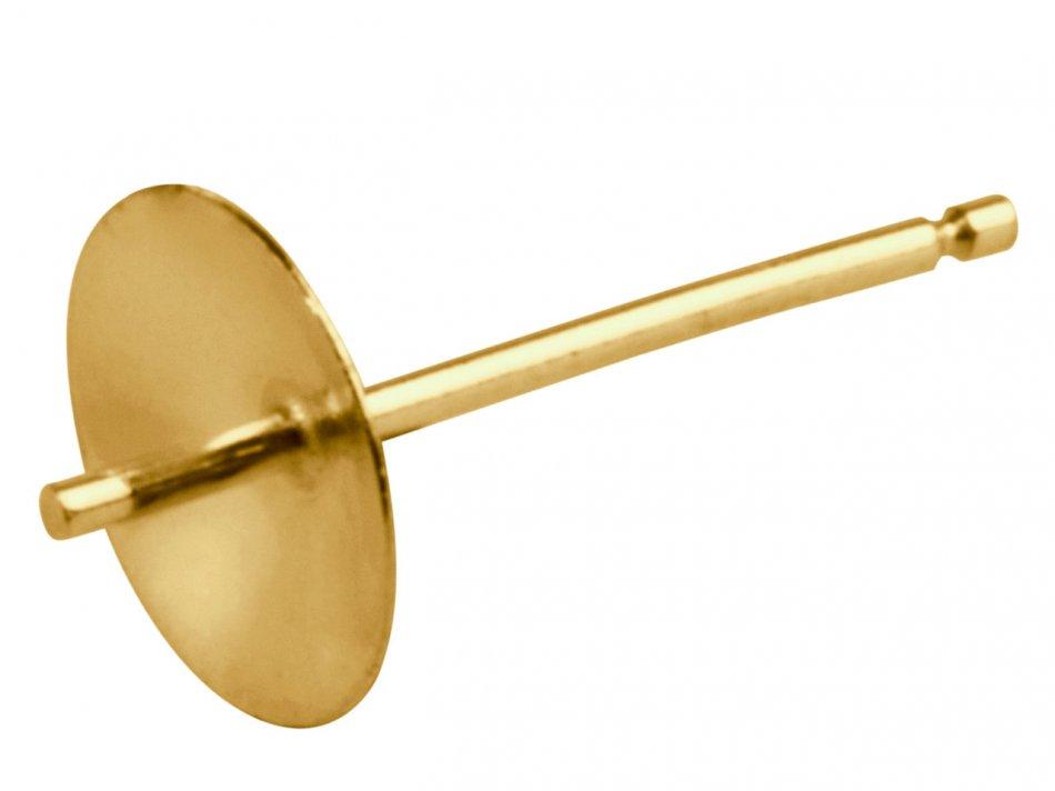Accesoriu cercei aur 18 K cupa de 5 mm placat cu aur de 24 k