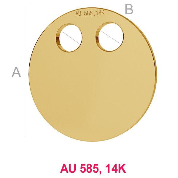 Banut aur A12,00 mm B2,50 mm, Aur AU-585, 14K