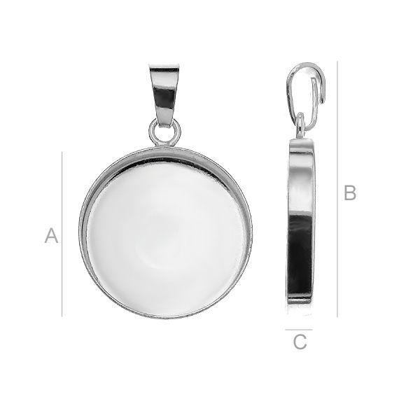accesoriu pandant, argint 925 A18,00 mm B29,00 mm C3,00 mm