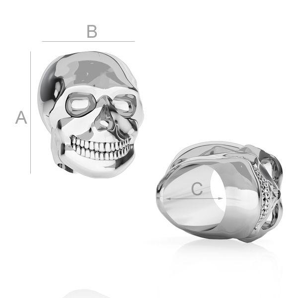 craniu ,argint 925  6.5*6.5*5.5 mm