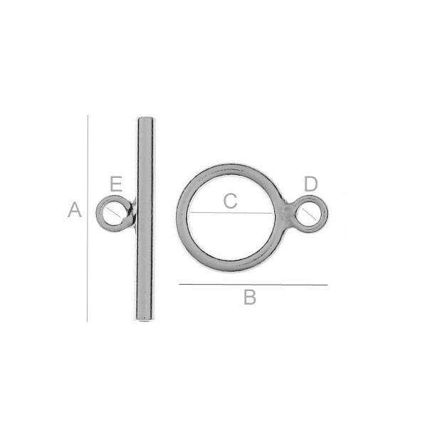 inchizatoarea, argint 925 A19,00 mm B14,00 mm C7,50 mm D2,00 mm E2,00 mm