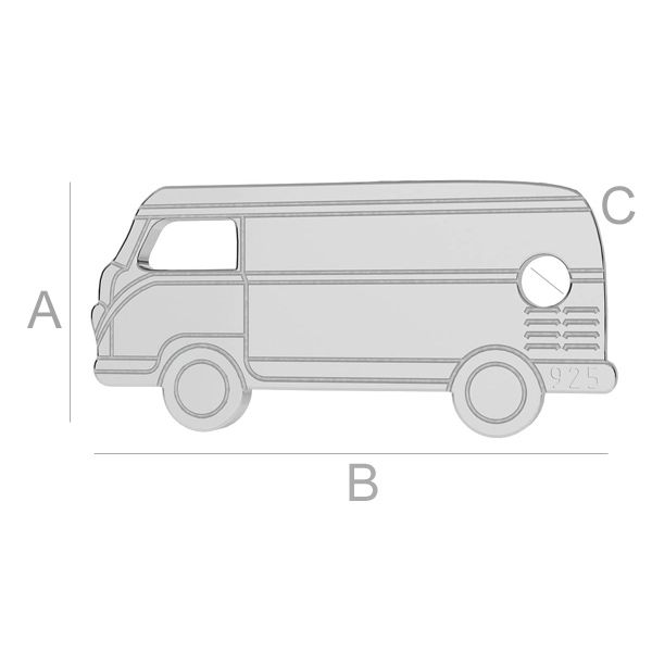 pandant, argint 925, A6,50 mm B14,00 mm C1,20 mm,