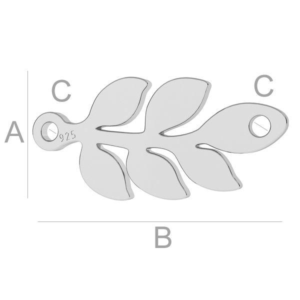 crenguta, argint 925 A7,60 mm B16,30 mm C1,20 mm,