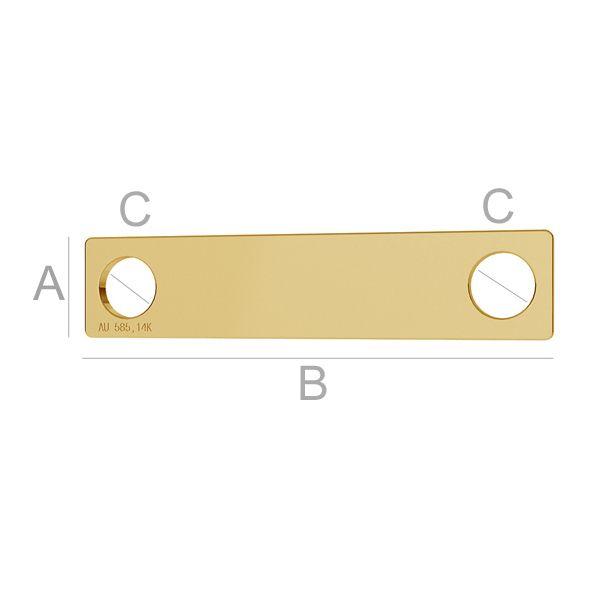 tablita aur 14 k A5,00 mm B23,00 mm C3,00 mm, Aur AU-585, 14K placat cu aur de 24 k