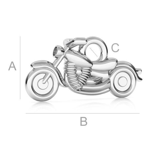 charm motocileta, argint 925 A7,30 mm B15,00 mm C2,00 mm