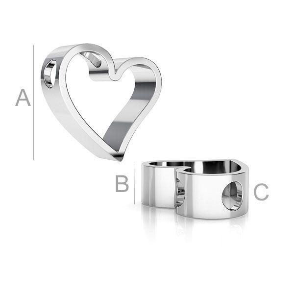 inima, argint 925A11,50 mm B4,40 mm C2,60 mm