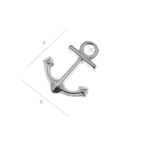 ancora argint 925A13,00 mm B10,00 mm C1,90 mm