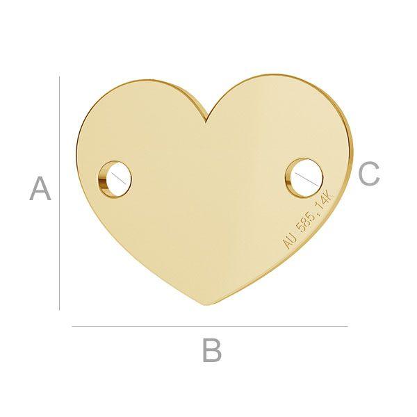 Link inima aur 14 k au 585  placat cu aur de 24 k  - 10*12 mm