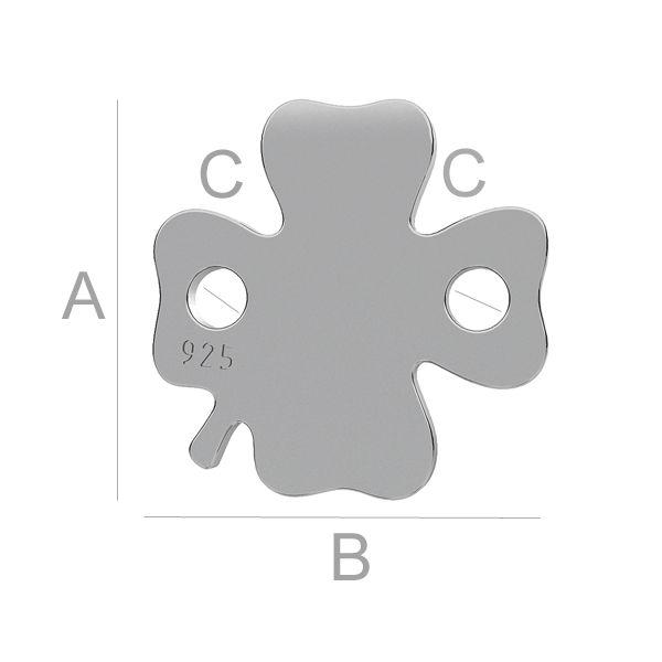 trifoi, argint 925 placat cu rodiu alb 11 mm