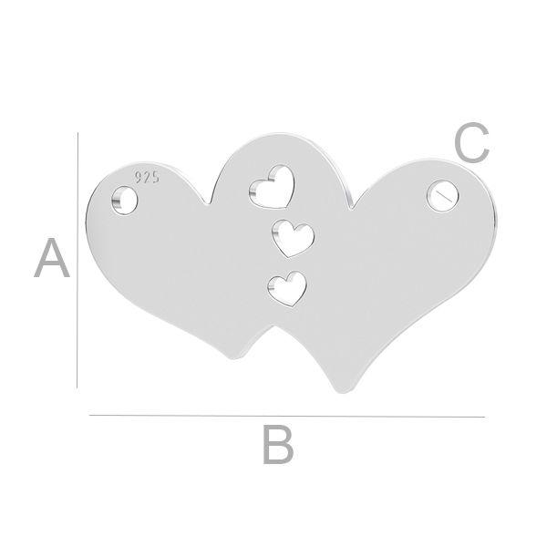 link inima, argint 925 A10,70 mm B18,00 mm C1,20 mm