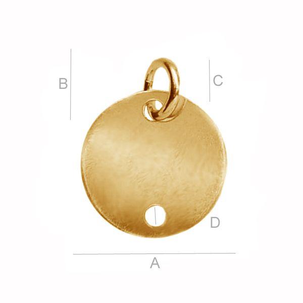 banut, argint 925, 12 mm placat cu aur