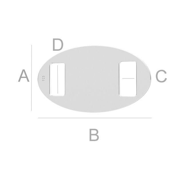 tablita ovala pentru gravare argint 925 A11,80 mm B21,00 mm C4,00 mm D3,00 mm,