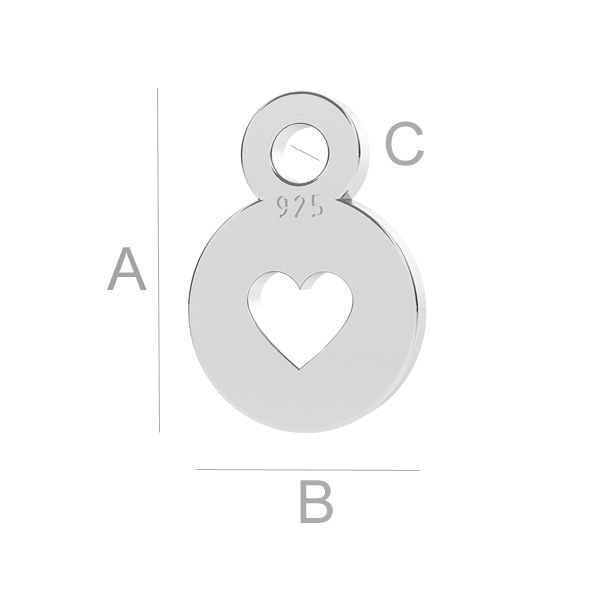 charm argint pentru cercei A7,00 mm B5,00 mm C1,20 mm