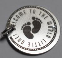 banut gravat 16 mm argint new baby