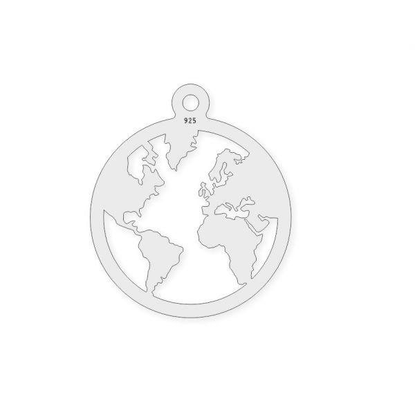 pandant glob 20 mm argint 925