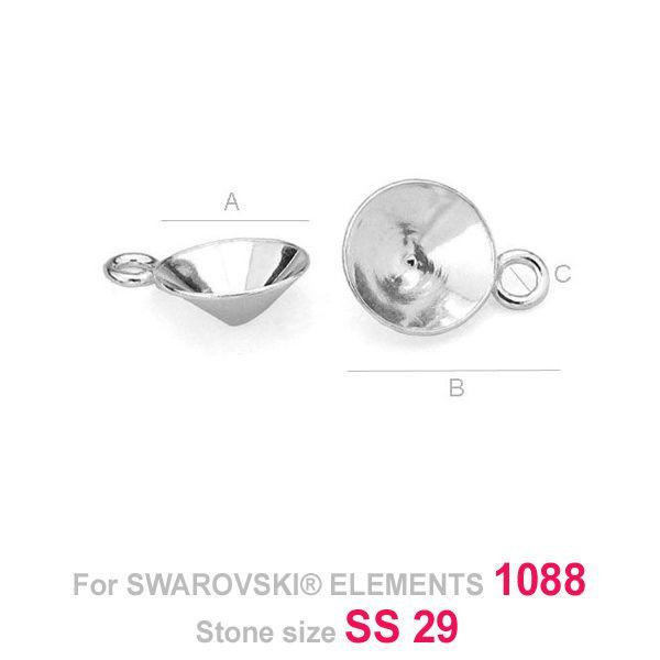 pandant argint 925  pt swarovski 1088 6mm