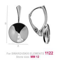 tortita, argint 925 12,7x 24,3 mm pentru swarovski 1122 12 mm