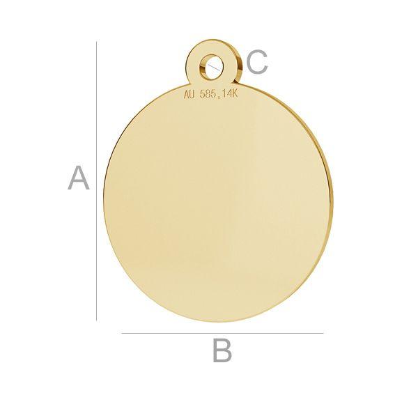 banut aur 14k au585 placat cu aur de 24 k  12 mm