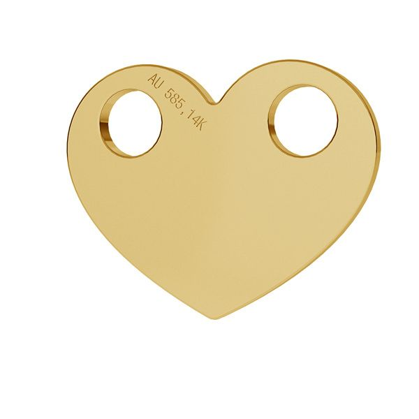 inima aur 14k au 585 12mm  placat cu aur de 24 k