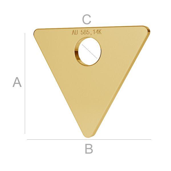 pandant triunghi aur 14k au585  placat cu aur de 24 k