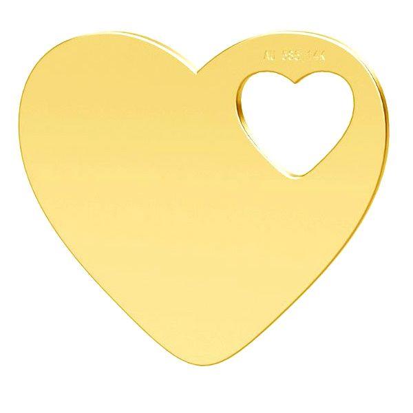 inima aur 14k au585 16 mm  placat cu aur de 24 k