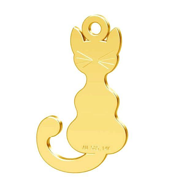 pandant pisica aur 14k au585 placat cu aur de 24 k