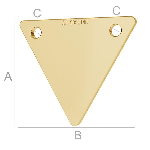 triunghi aur 14k au585 placat cu aur de 24 k