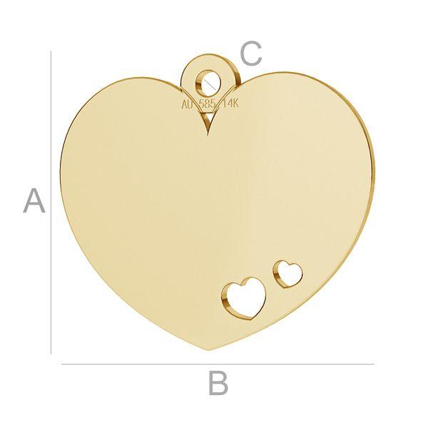 pandant inima aur14k au585  placat cu aur de 24 k