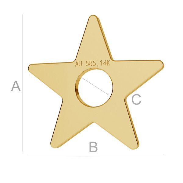 steluta aur 14k au585 placat cu aur de 24 k  11mm