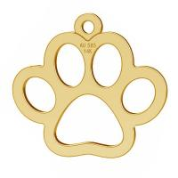 Gold dog pawt pendant, gold 14K
