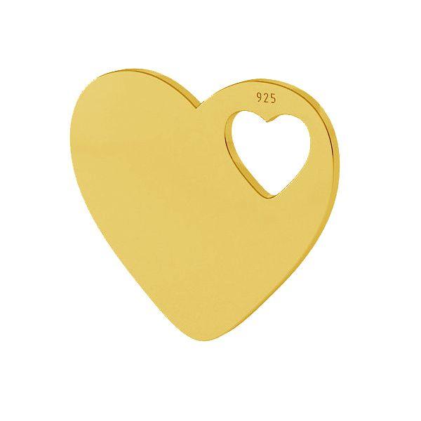 charm argint 925 placat cu aur de 24k  inima