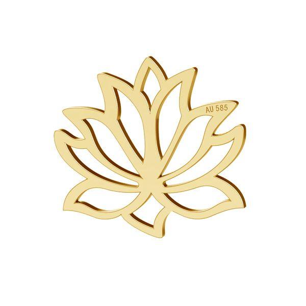 pandant lotus aur 14k au585 placat cu aur de 24k