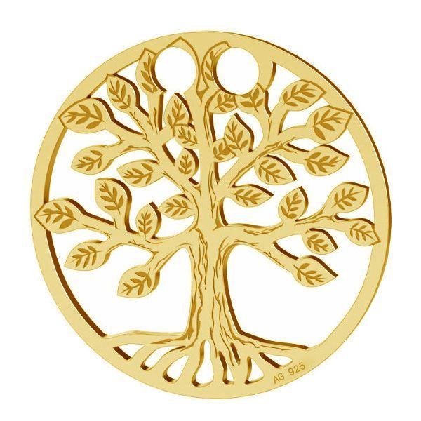 pandant argint 925 placat cu aur 24k pomul vietii