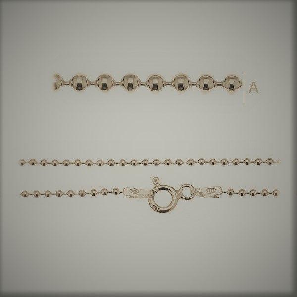 lant cu bila45 cm  argint 925 placat cu aur, greutate 1,39 grame